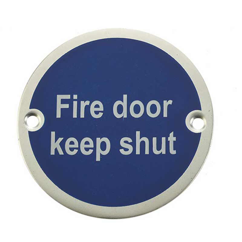 'Fire Door Keep Shut' Sign Satin Anodised Aluminium