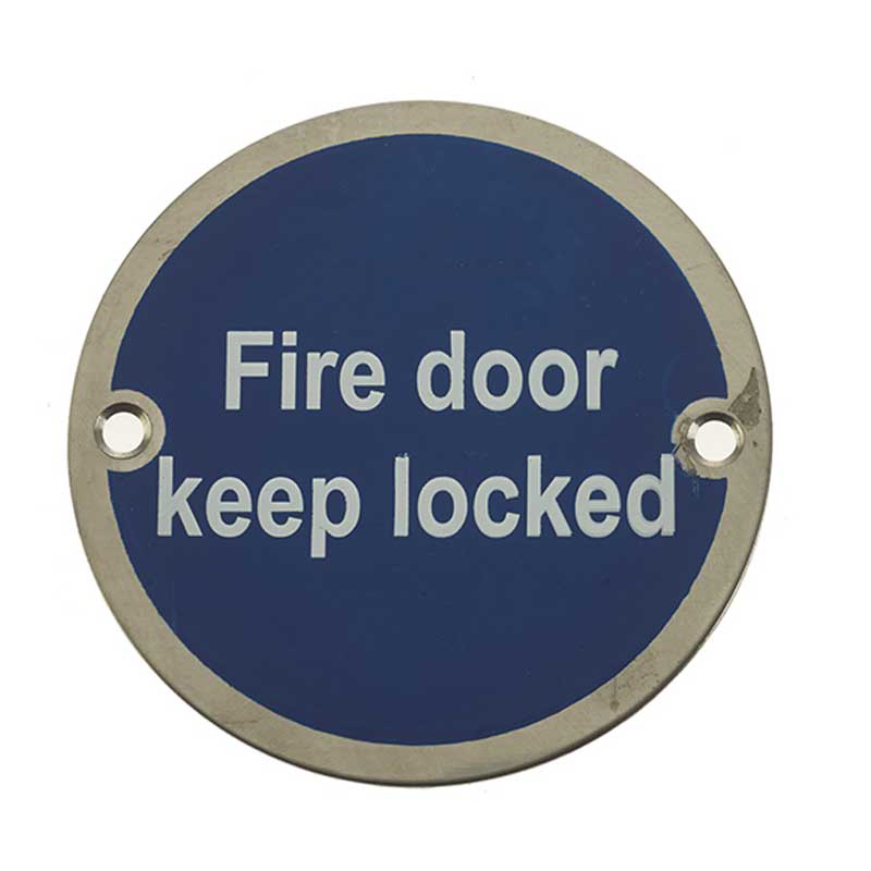 'Fire Door Keep Locked' Sign Satin Anodised Aluminium