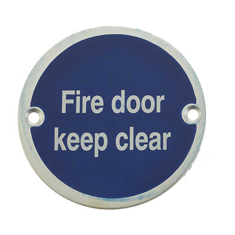 'Fire Door Keep Clear' Sign Satin Anodised Aluminium