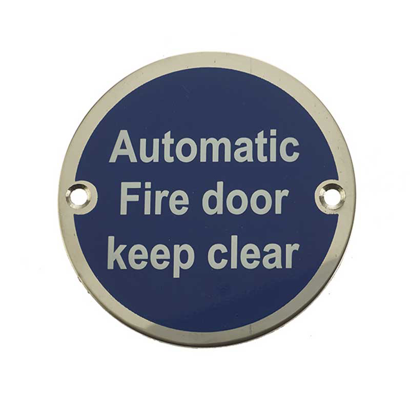 Automatic Fire Door Keep Clear' Sign Satin Anodised Aluminium