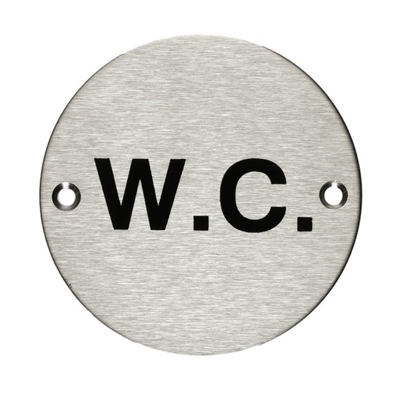 'WC' Toilet Sign Satin Anodised Aluminium