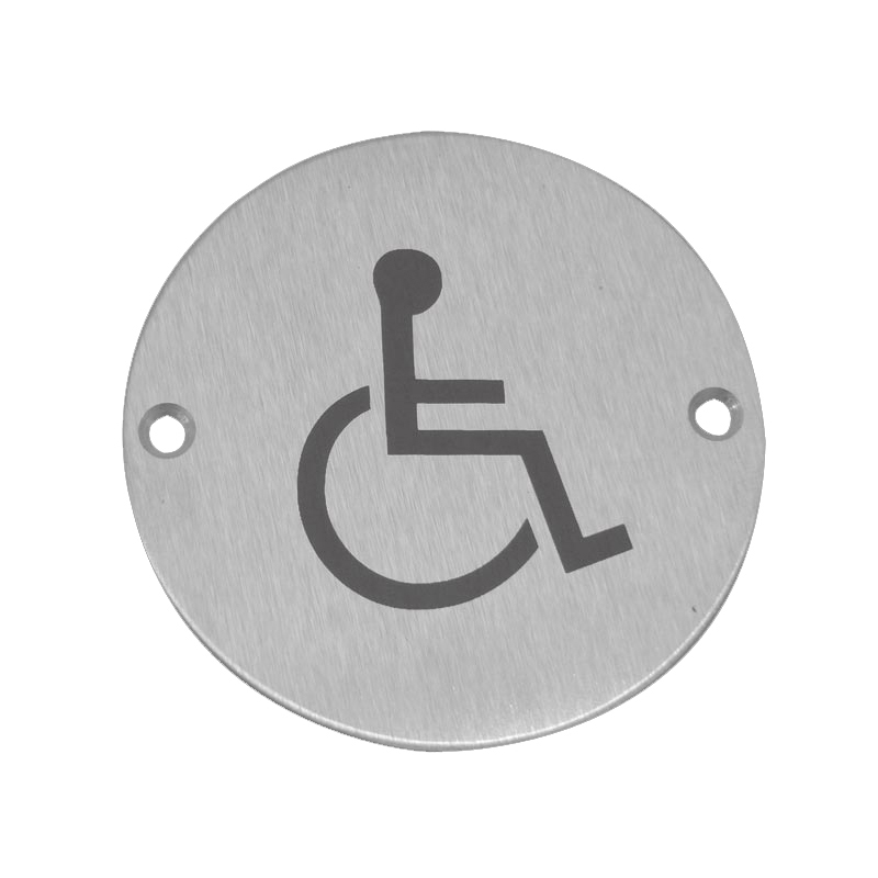 Disabled Symbol Sign Satin Stainless Steel