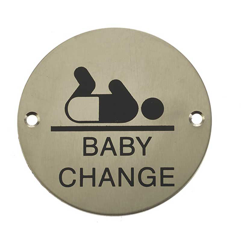 Baby Change Symbol Sign Satin Stainless Steel
