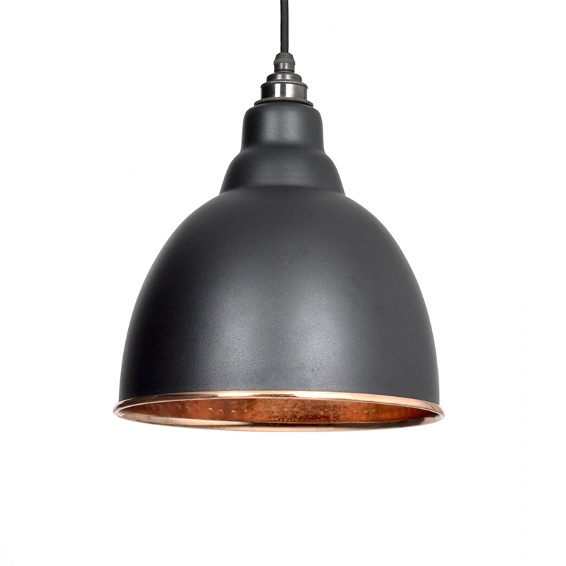 Brindley Pendant Hammered Copper Black & Copper