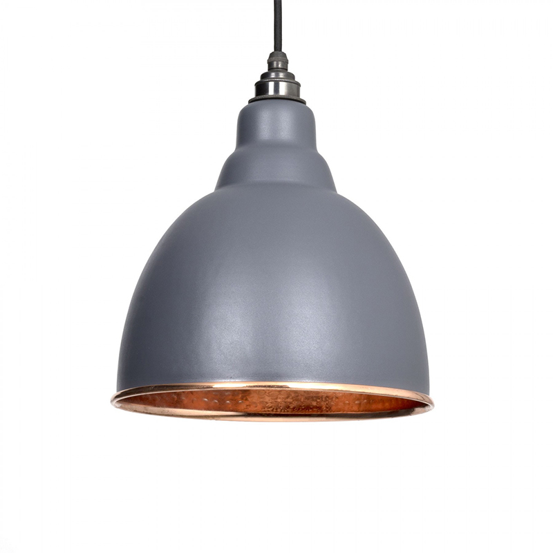 Brindley Pendant Hammered Copper Dark Grey & Copper
