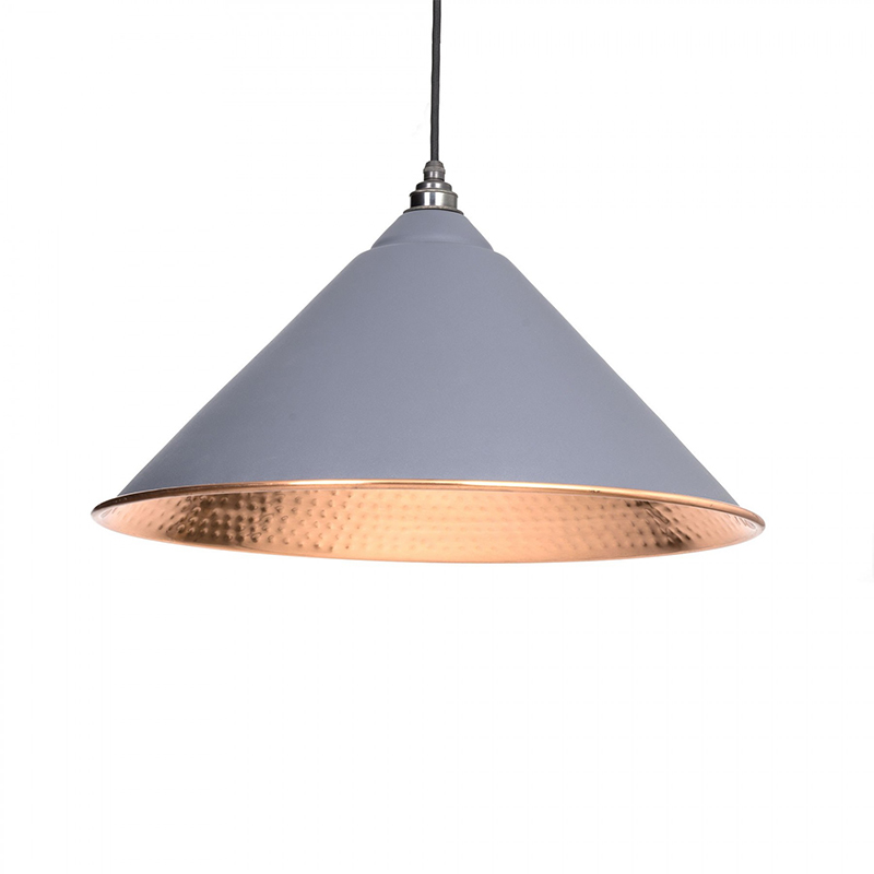 Hockley Pendant Hammered Copper Dark Grey & Copper