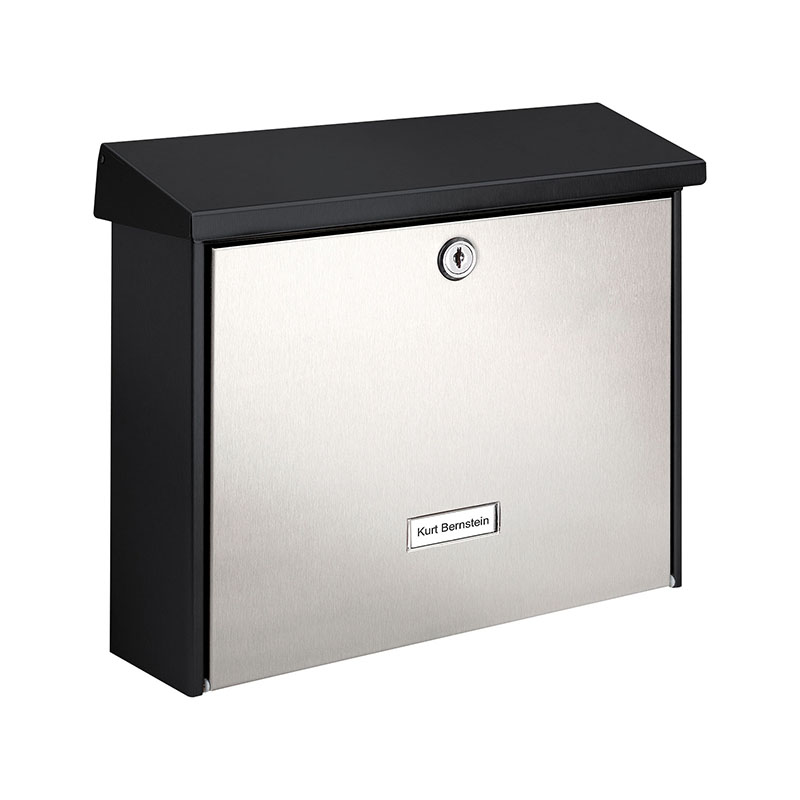 London Letter Box - Black with Silver Front