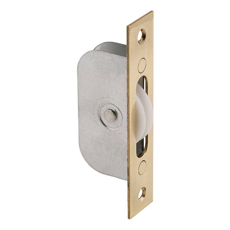 Sash Window Axle Pulley - Square - 119mm x 25mm Polished Brass