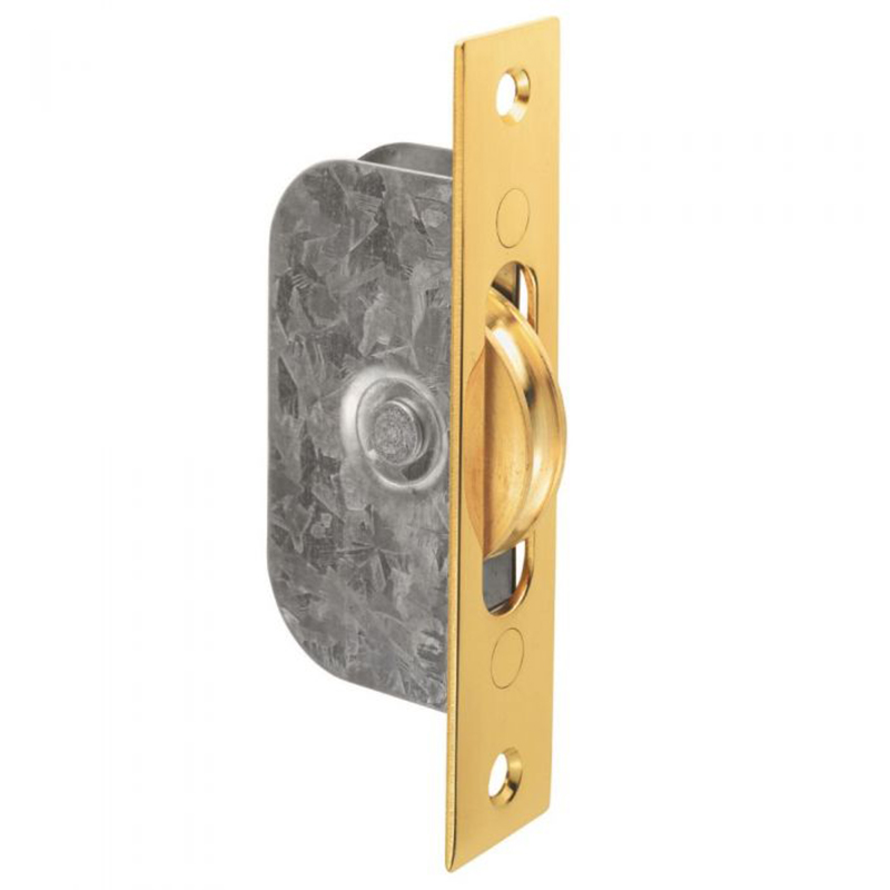 Sash Window Axle Pulley - Square - 117mm x 25mm Polished Brass