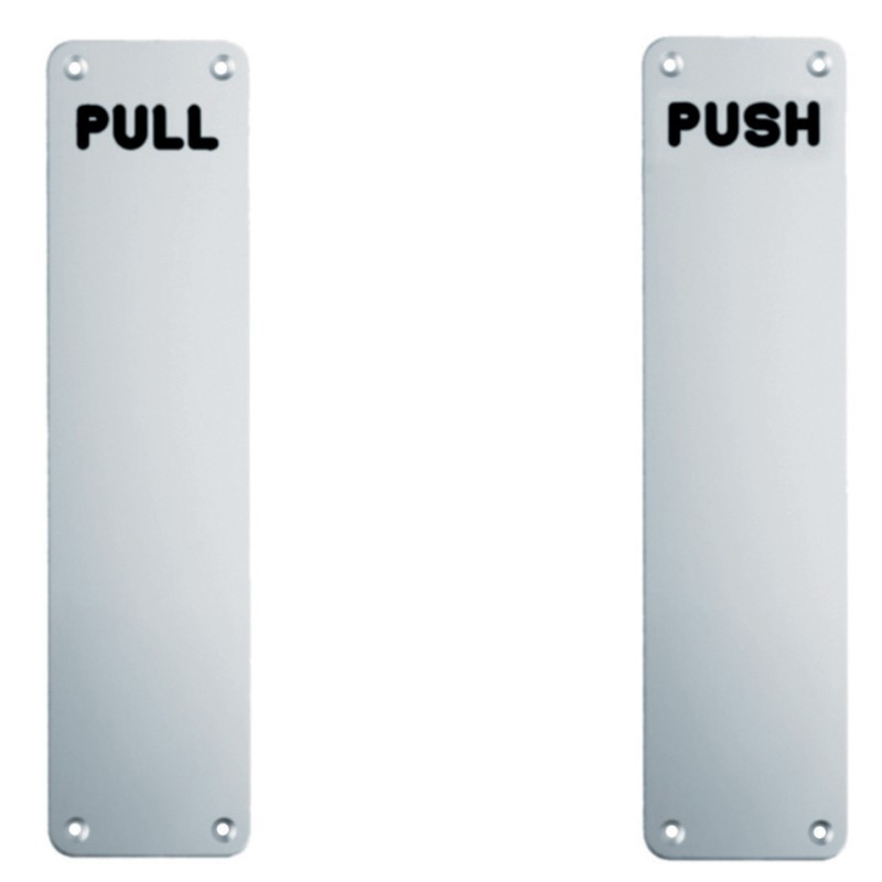Pull Finger Plate - 350mm x 75mm Bright Satin Stainless Steel
