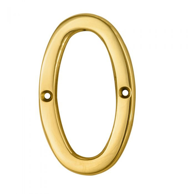Face Fix Numeral '0' Polished Brass