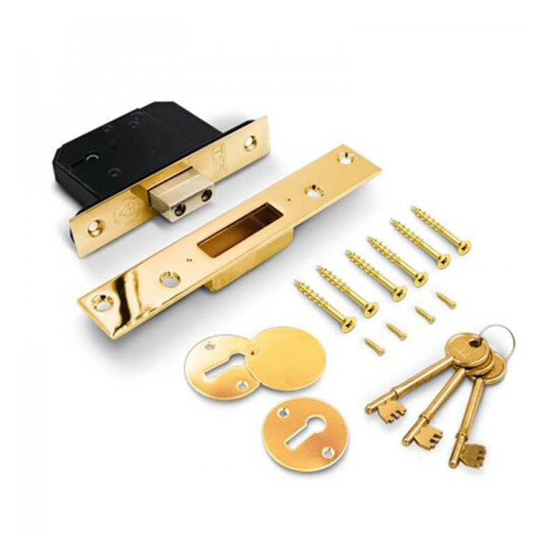 "5 Lever British Standard Deadlock - 2.5"" Polished Brass"