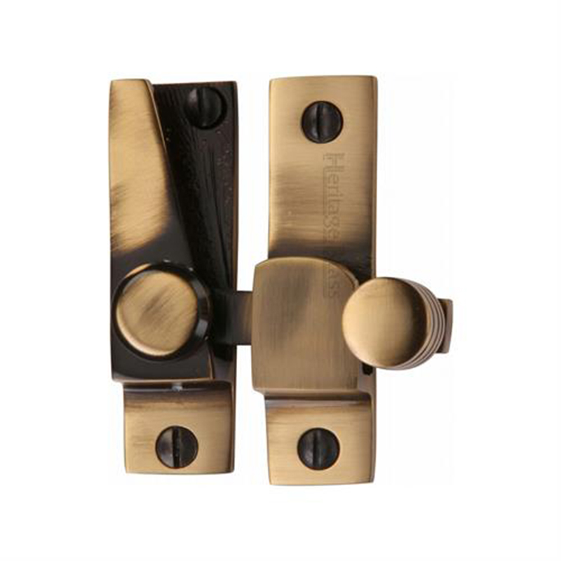 Rounded Hook Plate Sash Fastener Antique Brass